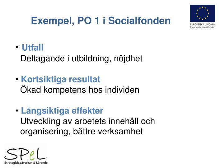 Exempel, PO 1 i Socialfonden