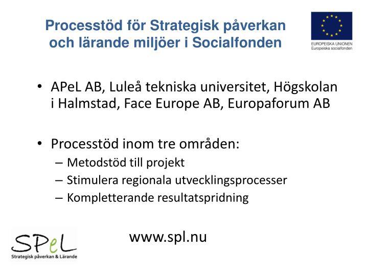 Processt d f r strategisk p verkan och l rande milj er i socialfonden