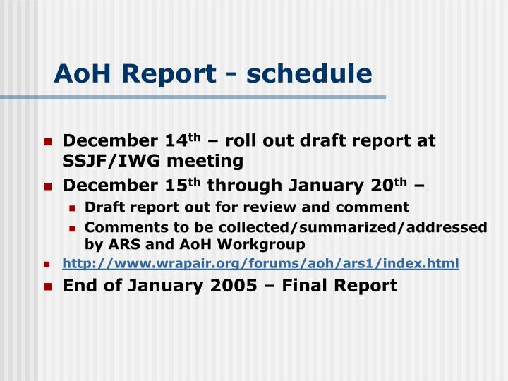 Aoh report schedule
