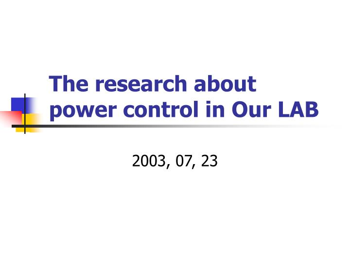 the research about power control in our lab n.