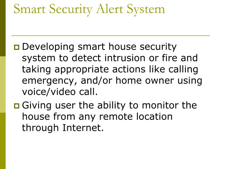 Smart security alert system