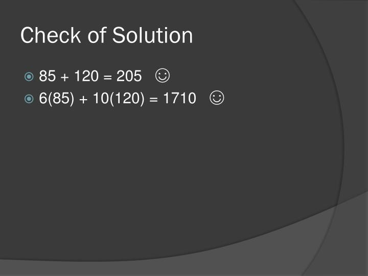 Check of Solution