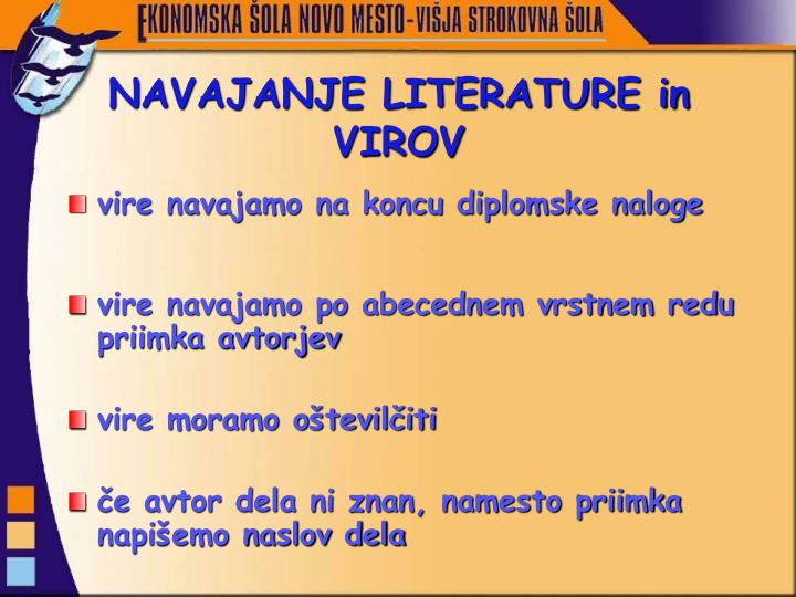 NAVAJANJE LITERATURE in VIROV