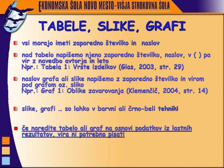 TABELE, SLIKE, GRAFI