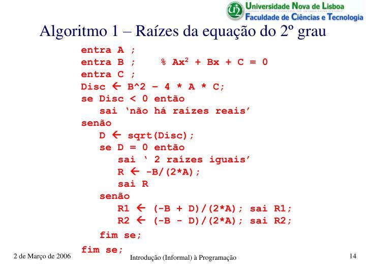 Algoritmo 1 – Raízes da equação do 2º grau