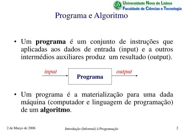 Programa e algoritmo