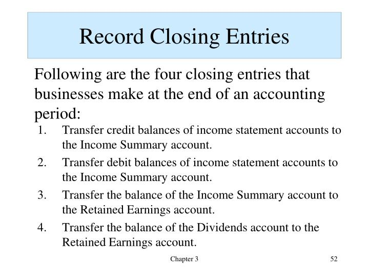 Record Closing Entries
