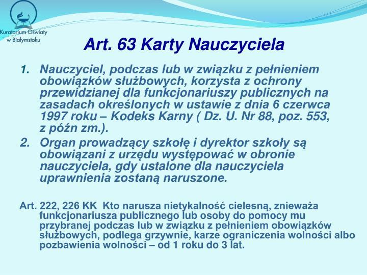 Art. 63 Karty Nauczyciela