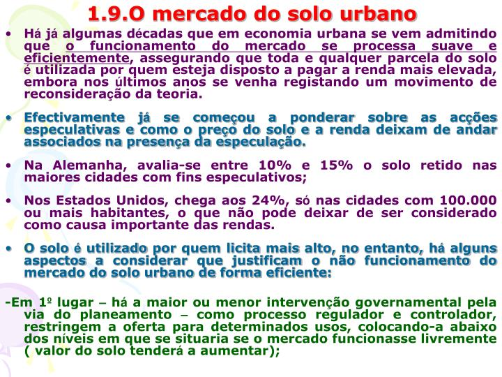 1.9.O mercado do solo urbano