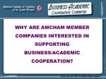 why are amcham member companies interested in supporting business academic cooperation