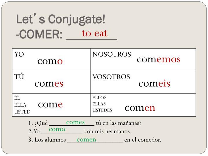 lets conjugate comer ______