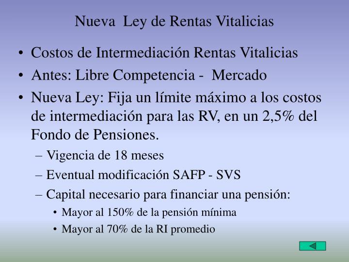 Nueva  Ley de Rentas Vitalicias