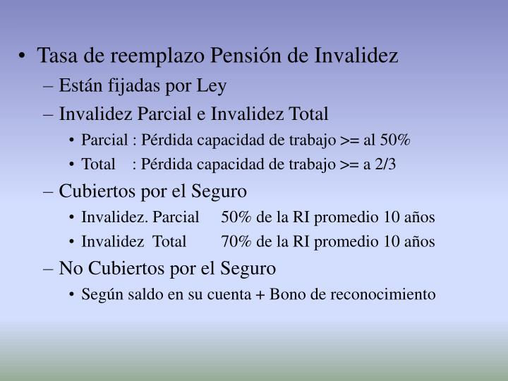 Tasa de reemplazo Pensión de Invalidez