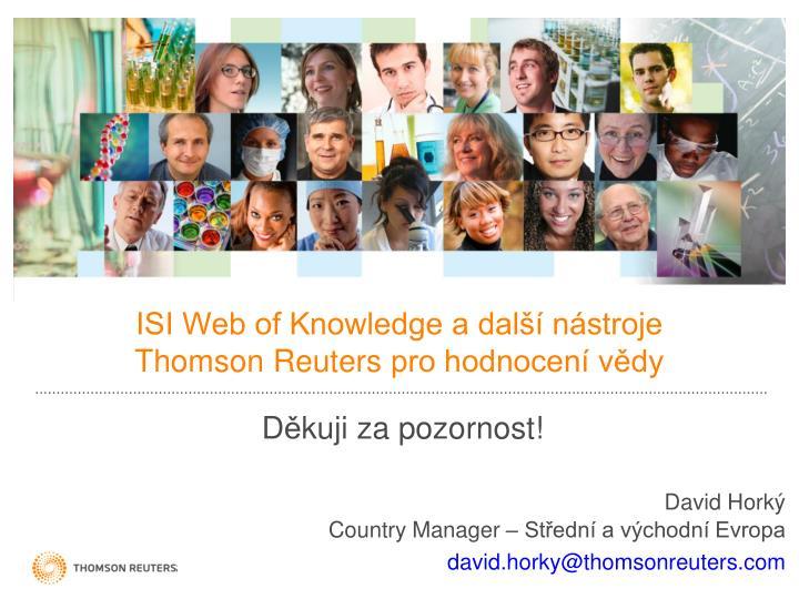 ISI Web of Knowledge a další nástroje