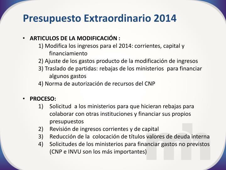 Presupuesto Extraordinario 2014