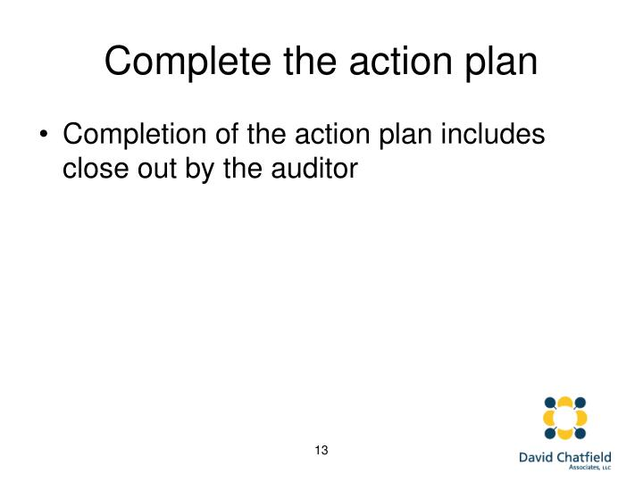 Complete the action plan