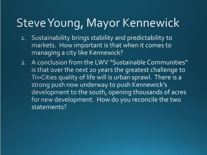 Steve Young, Mayor Kennewick