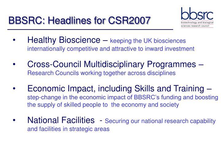 BBSRC: Headlines for CSR2007