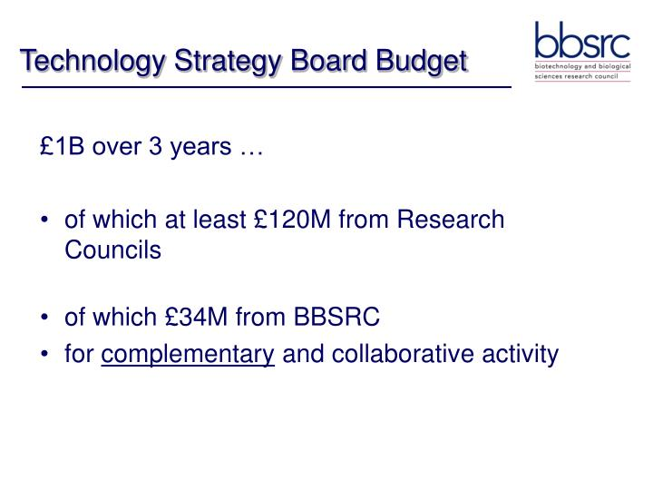 Technology Strategy Board Budget