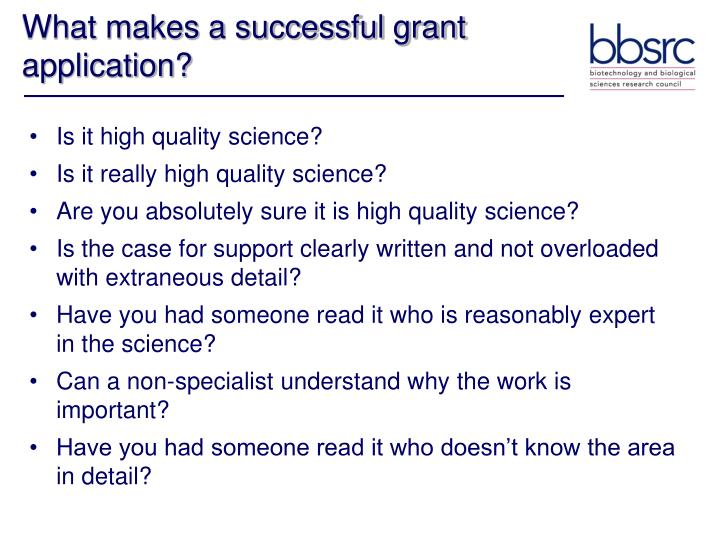 What makes a successful grant application?