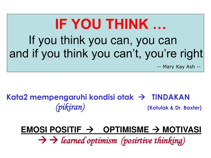 IF YOU THINK …
