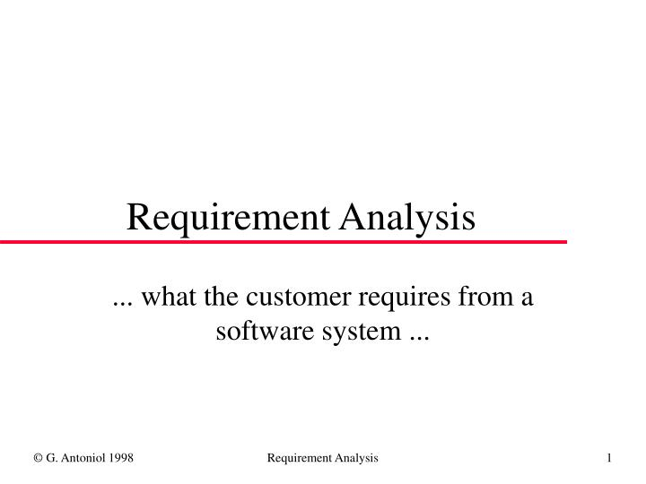 requirement analysis n.