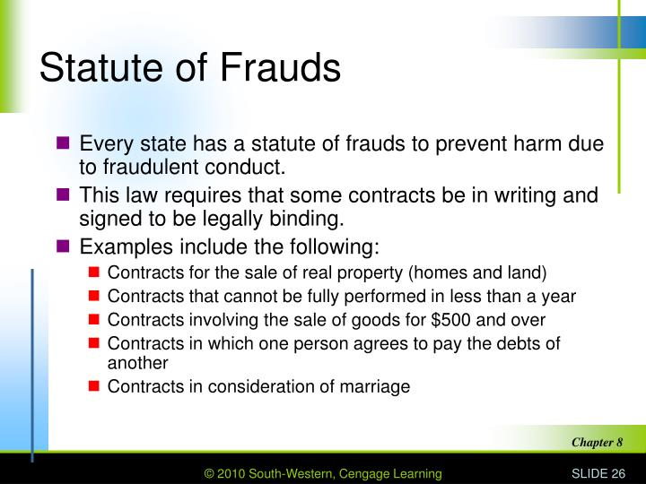 Statute Of Frauds For Sale Of Real Property