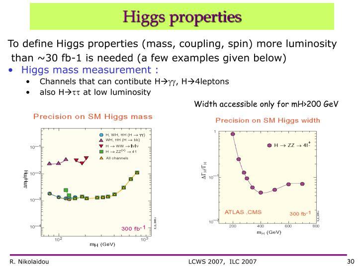 To define Higgs properties (mass, coupling, spin) more luminosity
