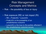 risk management concepts and metrics