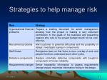 strategies to help manage risk