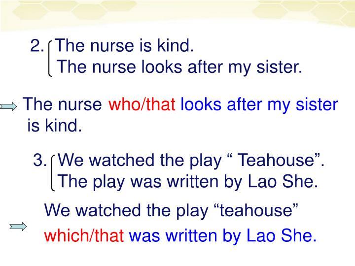 2.  The nurse is kind.