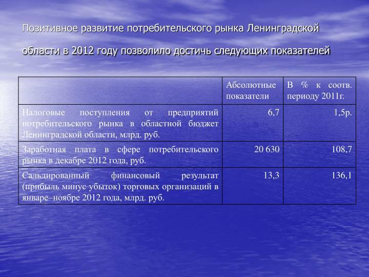 Позитивное развитие потребительского рынка Ленинградской области в 2012 году позволило достичь следующих показателей