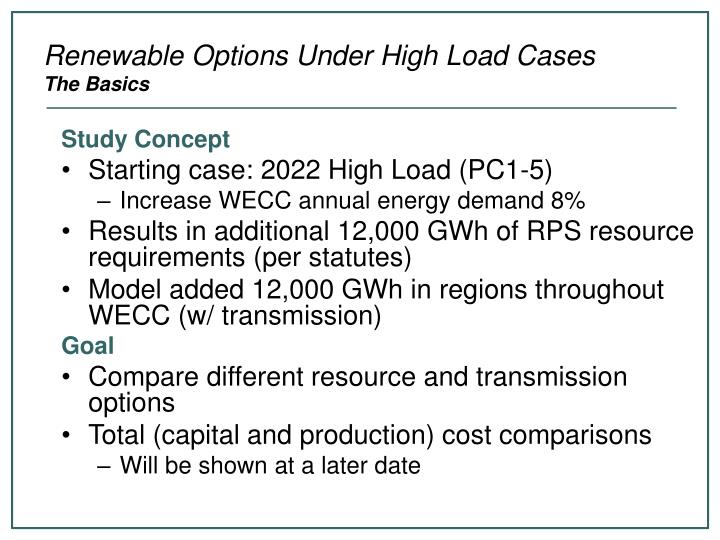 Renewable options under high load cases the basics