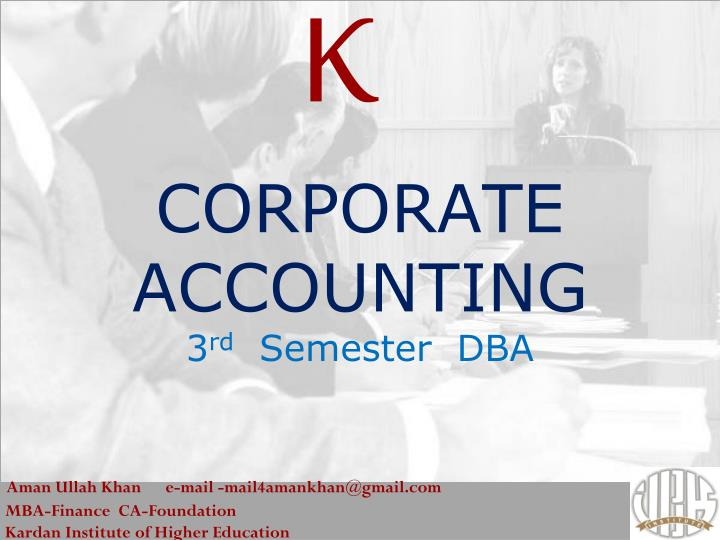 corporate accounting 3 rd semester dba