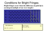conditions for bright fringes