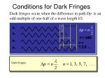 conditions for dark fringes