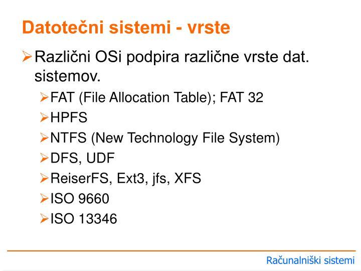 Datotečni sistemi - vrste