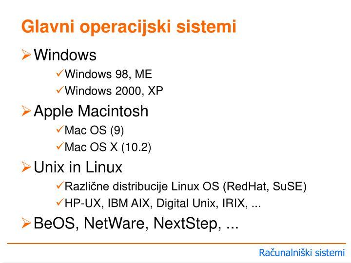 Glavni operacijski sistemi