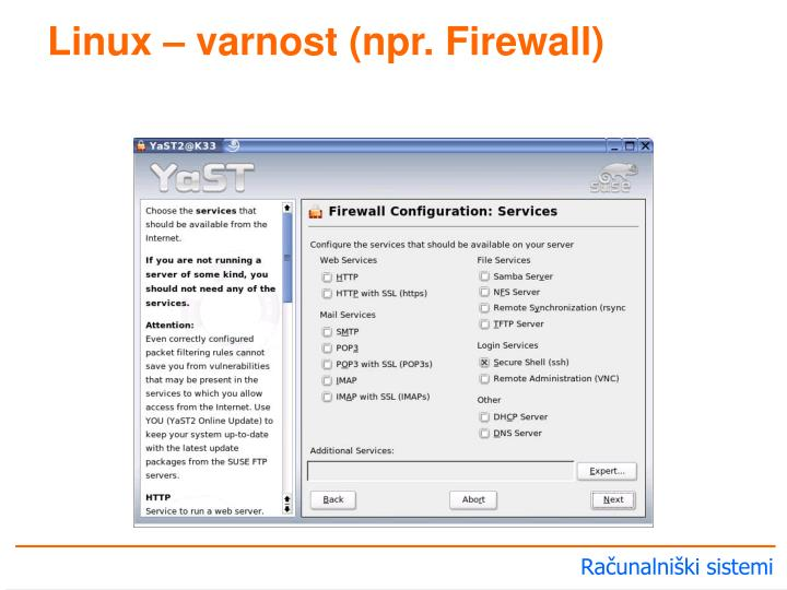 Linux – varnost (npr. Firewall)