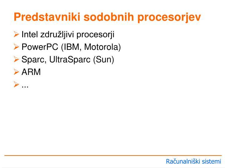 Predstavniki sodobnih procesorjev