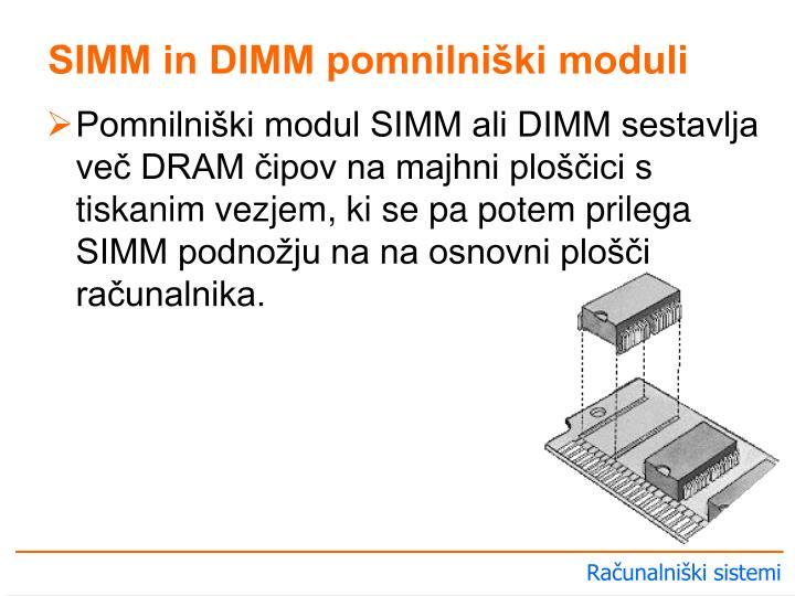 SIMM in DIMM pomnilniški moduli