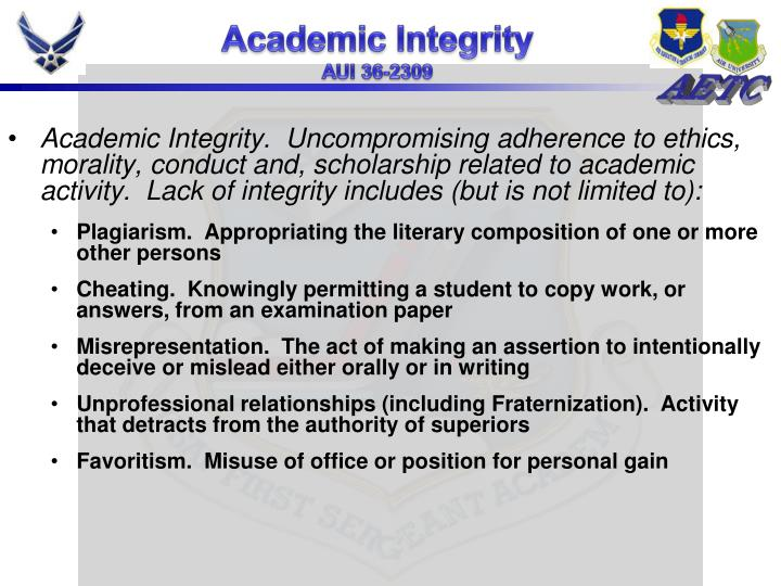 morality and academic integrity Academic integrity and student plagiarism: a question of education, not ethics students have only a vague sense of what is meant by the moral.