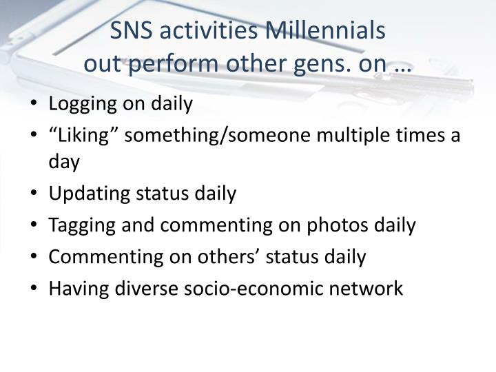 SNS activities Millennials
