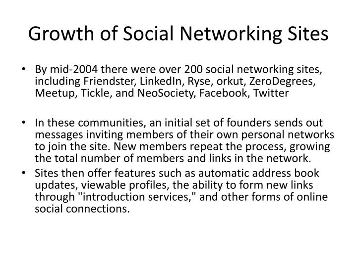 Growth of Social Networking Sites