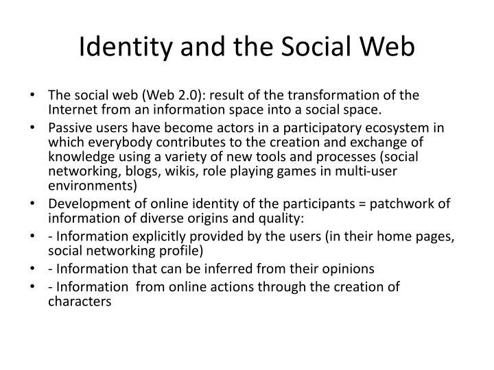 Identity and the social web1
