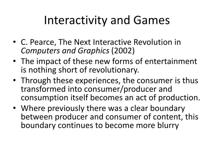 Interactivity and Games