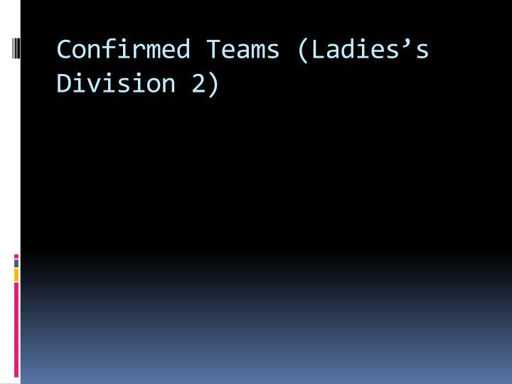 Confirmed Teams