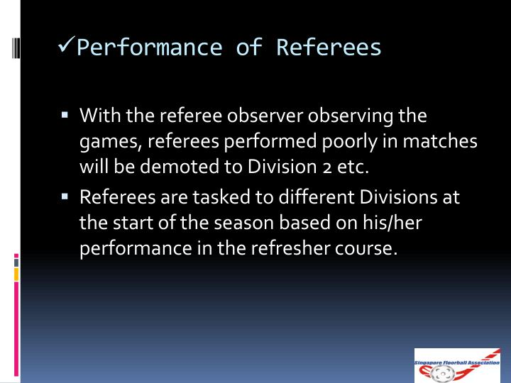 Performance of Referees