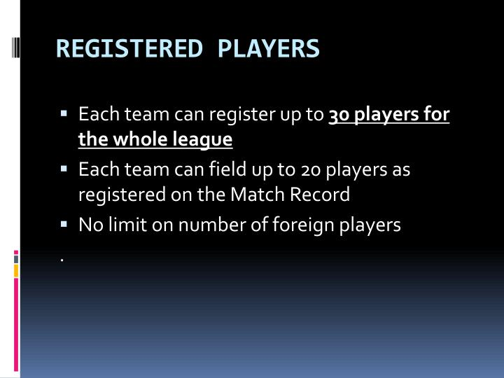 REGISTERED PLAYERS