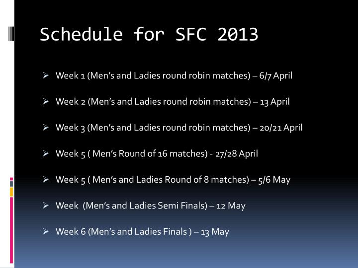 Schedule for SFC 2013